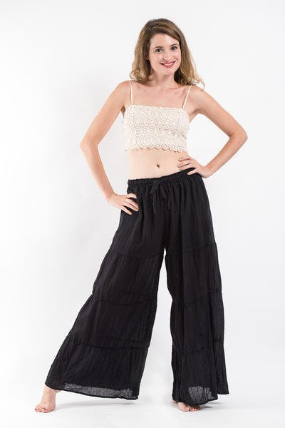 Pleated Cotton Palazzo Pants in Black