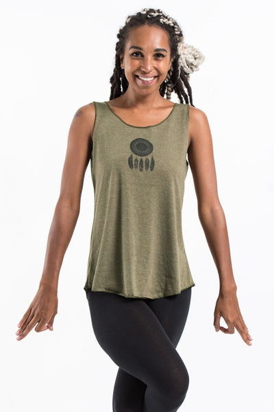 Loose Soft Vintage Style Women's Tank Tops Dream Catcher Olive