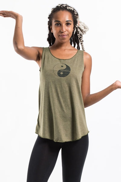 Loose Soft Vintage Style Women's Tank Tops Yin Yang Olive