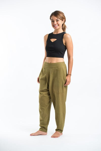 Pleated Casual Harem Pants in Olive