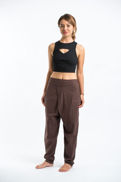 Pleated Casual Harem Pants in Brown