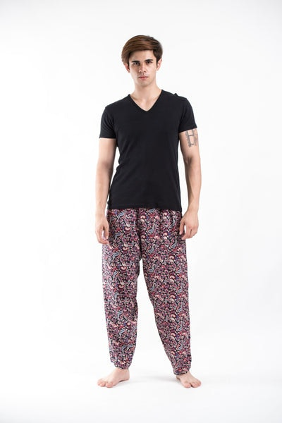 Thai Organic Cotton Paisley Black Men's Drawstring Pants
