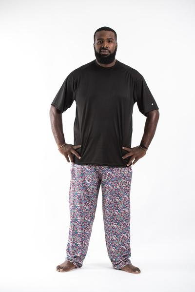 PLUS SIZE Paisley Maroon Men's Drawstring Pants