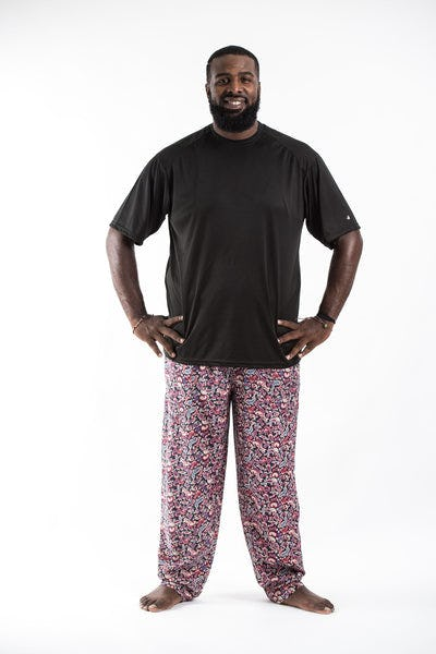 PLUS SIZE Thai Organic Cotton Paisley Black Men's Drawstring Pants