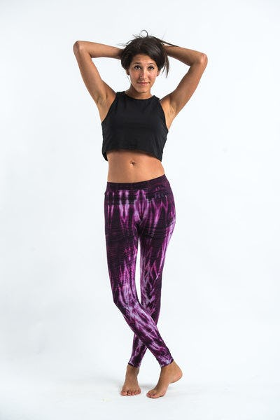 Lightning Stripes Tie Dye Cotton Legging in Purple