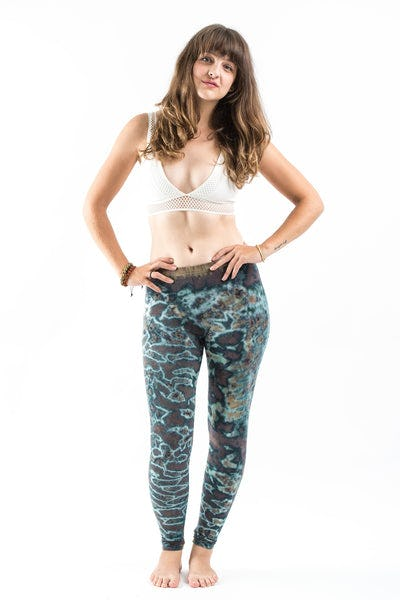 Marble Tie Dye Cotton Legging in Malachite Green