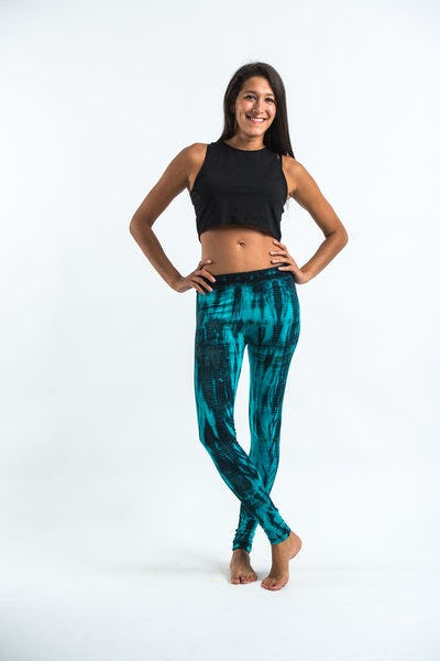 Lightning Stripes Tie Dye Cotton Legging in Turquoise