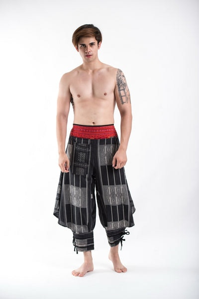 Thai Hill Tribe Fabric Men's Harem Pants with Ankle Straps in Charcoal Gray