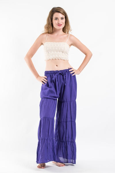 Pleated Cotton Palazzo Pants in Violet