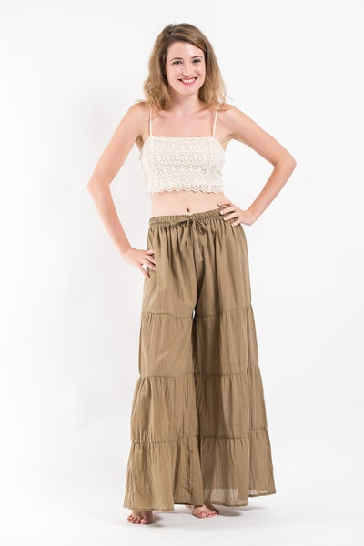 Pleated Cotton Palazzo Pants in Tan