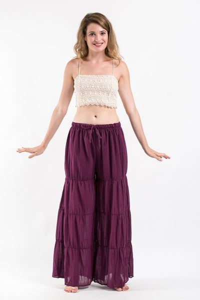 Pleated Cotton Palazzo Pants in Purple