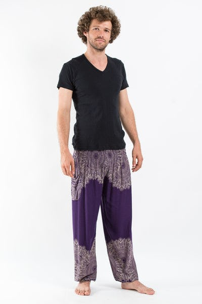 Floral Mandalas Men's Harem Pants in Purple