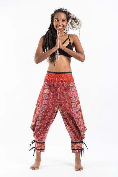 Clovers Thai Hill Tribe Fabric Women's Harem Pants with Ankle Straps in Red
