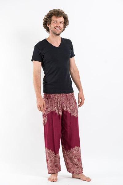 Floral Mandalas Men's Harem Pants in Red