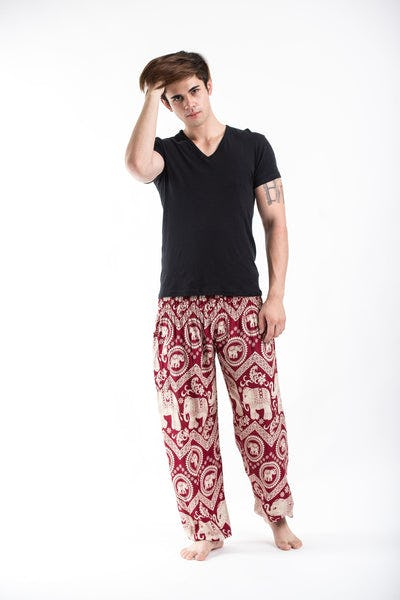 Imperial Elephant Men's Harem Pants in Red