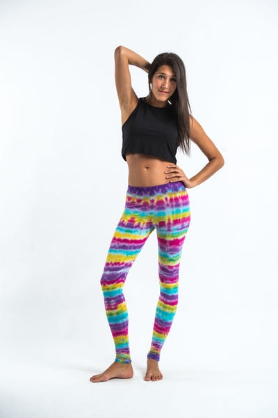 Melting Stripes Tie Dye Cotton Legging in Sugar Rainbow
