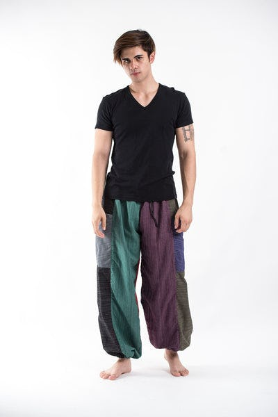 Men's Drawstring Patchwork Pinstripes Cotton Pants