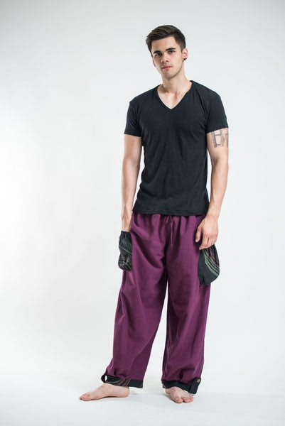 Thai Cotton Men Drawstring Pants With Hill Tribe Trim Purple