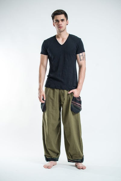 Thai Cotton Men Drawstring Pants With Hill Tribe Trim Olive
