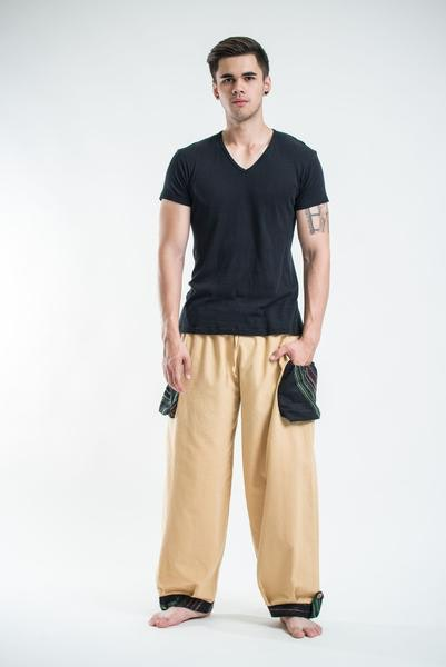Thai Cotton Men Drawstring Pants With Hill Tribe Trim Cream