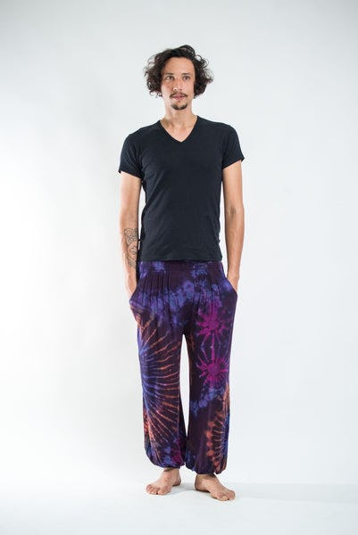Tie Dye Cotton Men Harem Pants in Purple