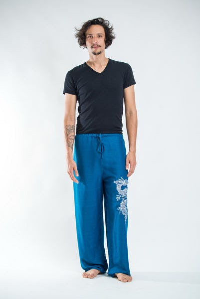 The Dragon Men's Thai Yoga Pants in Turquoise