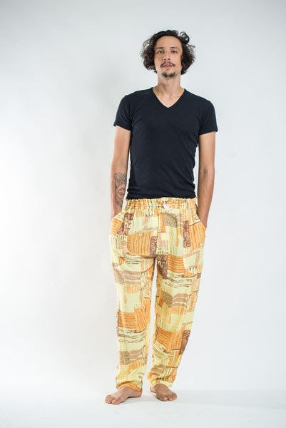 Thai Organic Cotton Patchwork Men's Drawstring Pants Gold