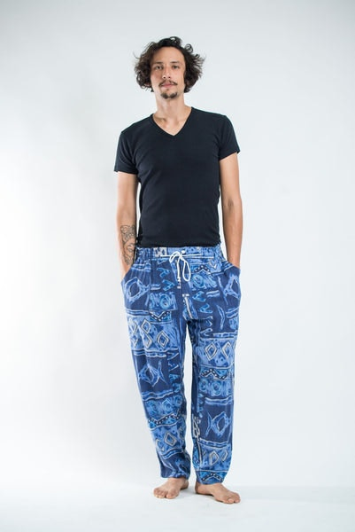 Thai Organic Cotton Patchwork Men's Drawstring Pants Dark Blue