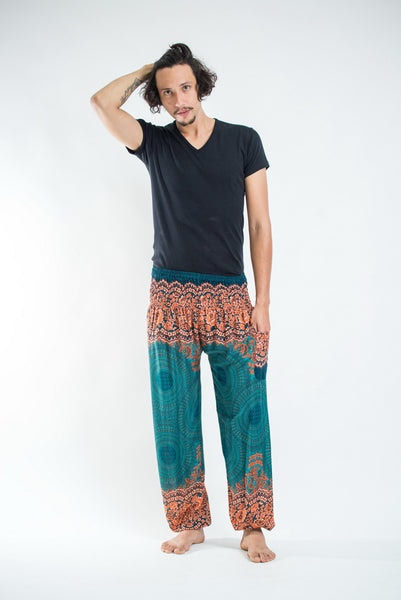 Geometric Mandalas Men's Harem Pants in Turquoise