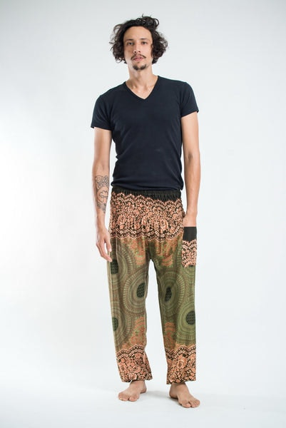 Geometric Mandalas Men's Harem Pants in Olive