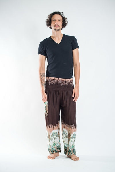 Solid Top Elephants Men's Harem Pants in Brown