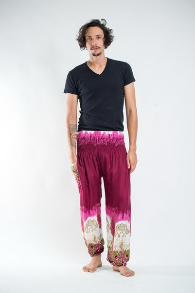 Solid Top Elephants Men's Harem Pants in Magenta