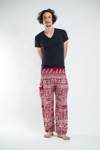 Tribal Prints Men's Harem Pants in Red