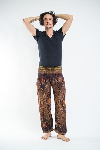 Peacock Eye Men's Harem Pants in Brown