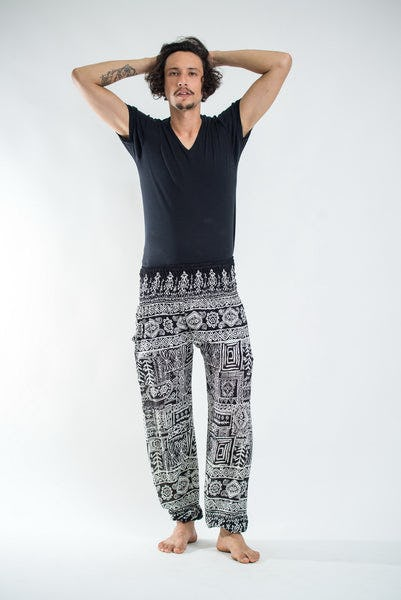 Tribal Prints Men's Harem Pants in Black