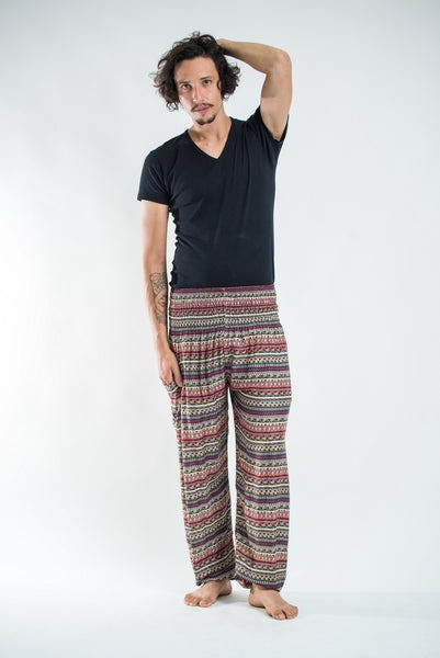Aztec Stripes Men's Harem Pants in Wine