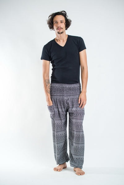 Aztec Stripes Men's Harem Pants in Gray