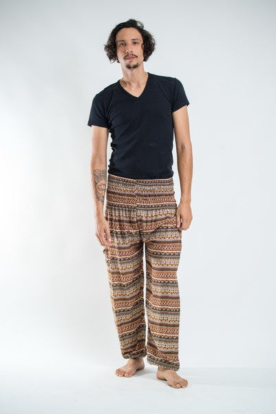 Aztec Stripes Men's Harem Pants in Sahara Brown