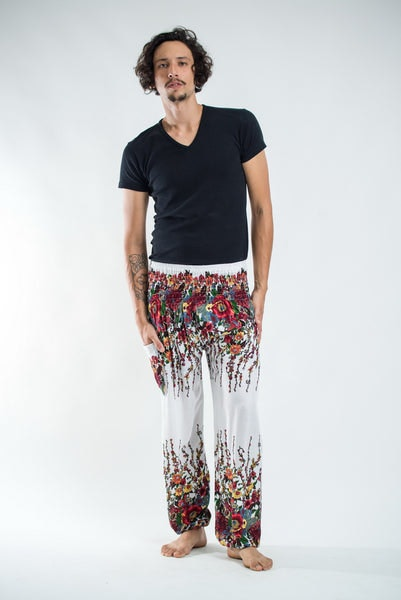 Floral Men's Harem Pants in White