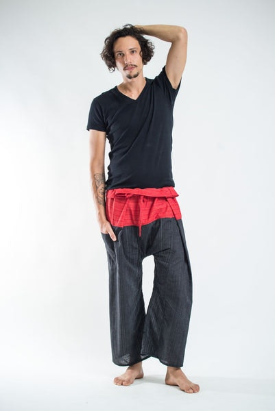 Unisex 2-Tone Pinstripes Thai Fisherman Pants in Black Red
