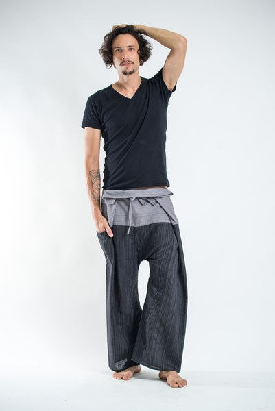 Unisex 2-Tone Pinstripes Thai Fisherman Pants in Black