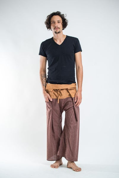 Unisex 2-Tone Pinstripes Thai Fisherman Pants in Brown