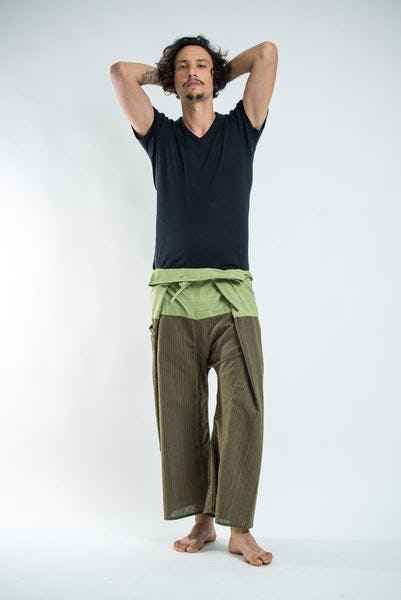 Unisex 2-Tone Pinstripes Thai Fisherman Pants in Green