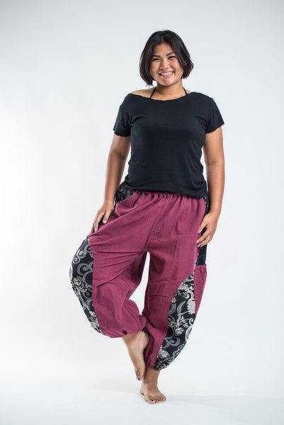 PLUS SIZE Stone Washed Patchwork Women Unisex Pants in Red