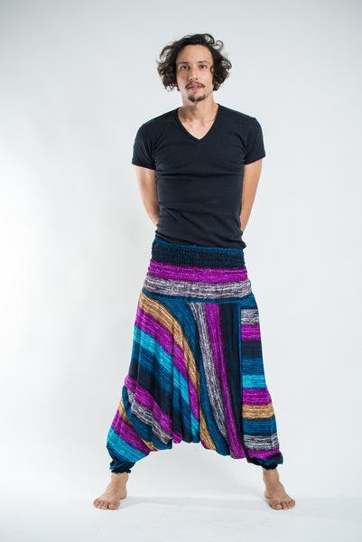 Boho Blue Striped Drop Crotch Men's Harem Pants