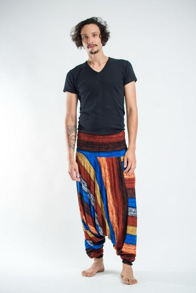 Boho Rust Striped Drop Crotch Men's Harem Pants