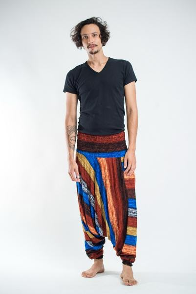 Boho Rust Striped Low-Cut Men's Harem Pants