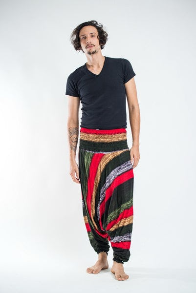 Boho Green Striped Drop Crotch Men's Harem Pants