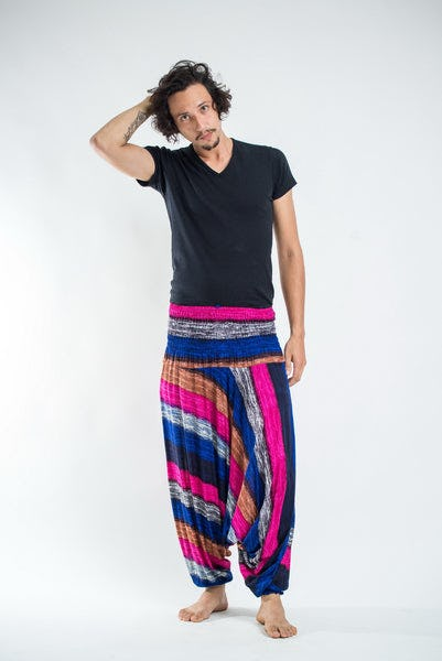 Boho Pink Striped Low-Cut Men's Harem Pants