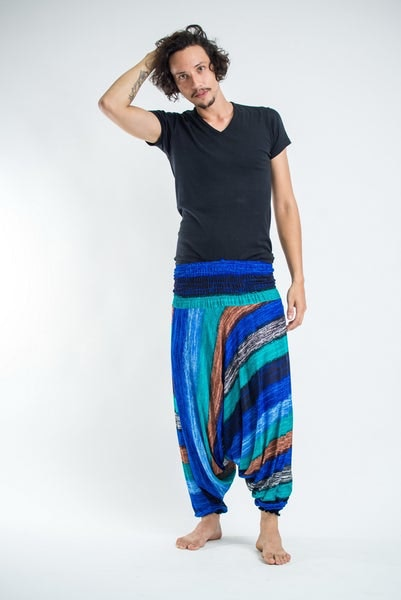 Boho Turquoise Striped Low-Cut Men's Harem Pants